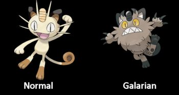 Meowth Normal and Galarian Pokémon Form
