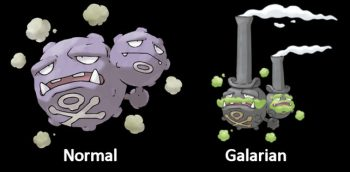 Weezing Normal and Galarian Pokémon Form